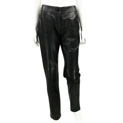 Chanel Black Calfskin Leather Trousers