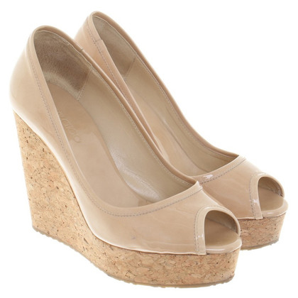 Jimmy Choo Lacquer leather wedges in beige