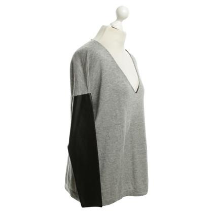 Boss Orange Sweater with imitation leather sleeves