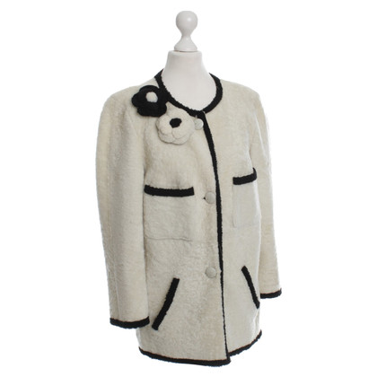 Chanel Giacca in pelle di agnello in crema/nero