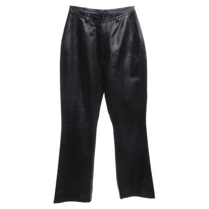 Prada Leren broek in zwart