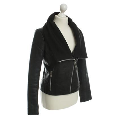 Damir Doma Leren jas in zwart