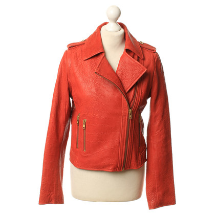 Reiss Giacca in pelle nel colore rosso