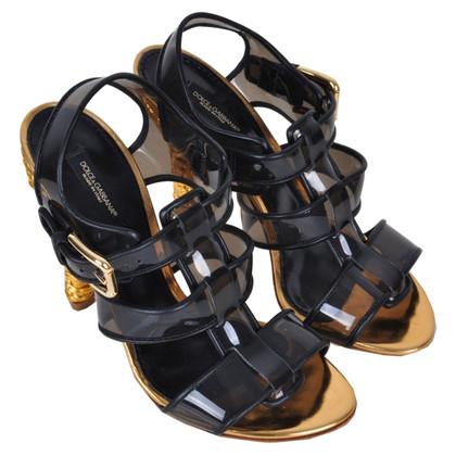 Dolce & Gabbana RUNWAY geweven sandalen zwart Gold