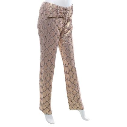 Prada Jacquard broek in goud / donkerblauw
