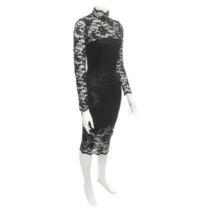 Ganni Kanten jurk in zwart
