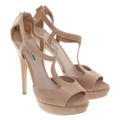 Miu Miu Suede Sandals in Nude