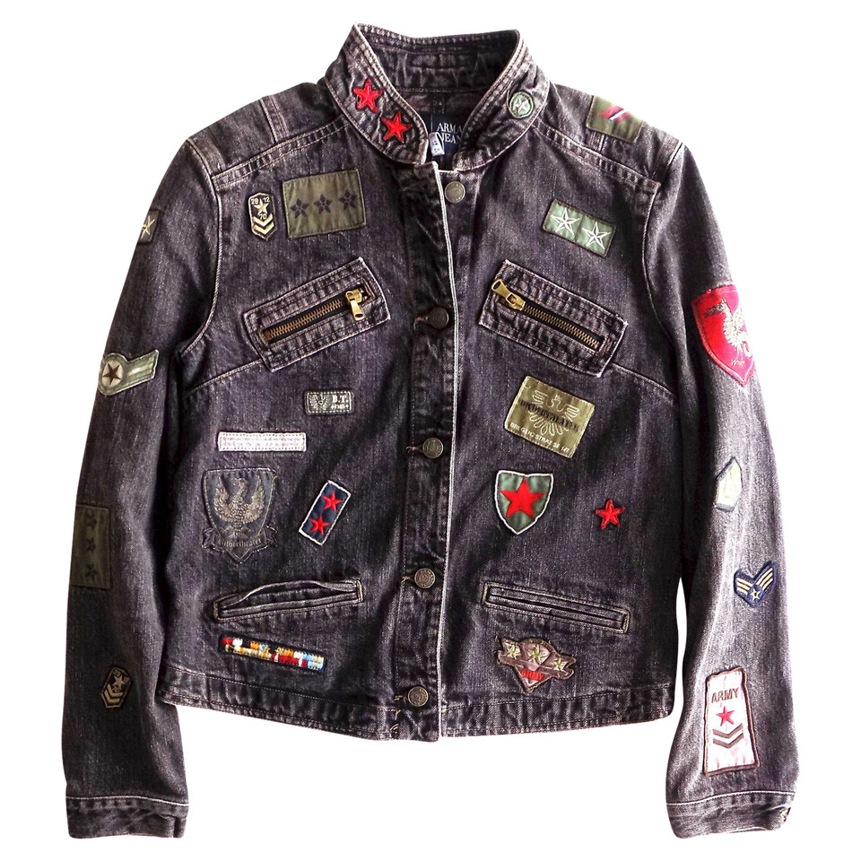 armani jeans jeansjacke mit patches second hand armani. Black Bedroom Furniture Sets. Home Design Ideas