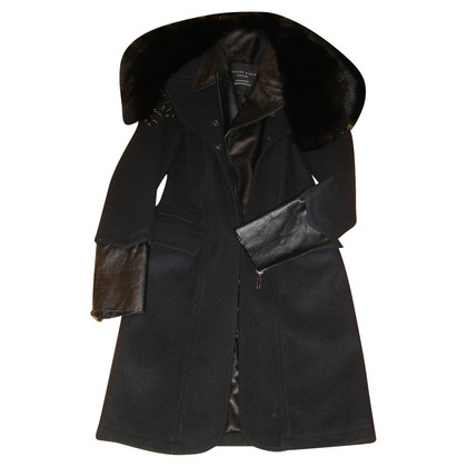 Philipp Plein Coat wool leather fur fox 36