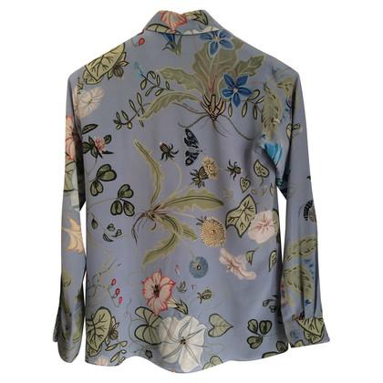 Gucci Zijden blouse lichtblauw met patroon