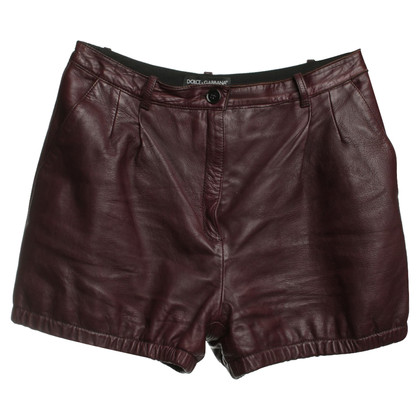 Dolce & Gabbana shorts in pelle a Bordeaux