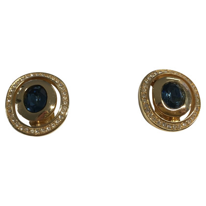 Christian Dior Gilded ear clips with blue stones