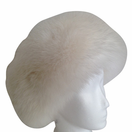 Prada Cashmere hat with Fox fur trim