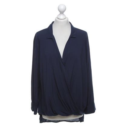 Velvet Blouse shirt in donkerblauw