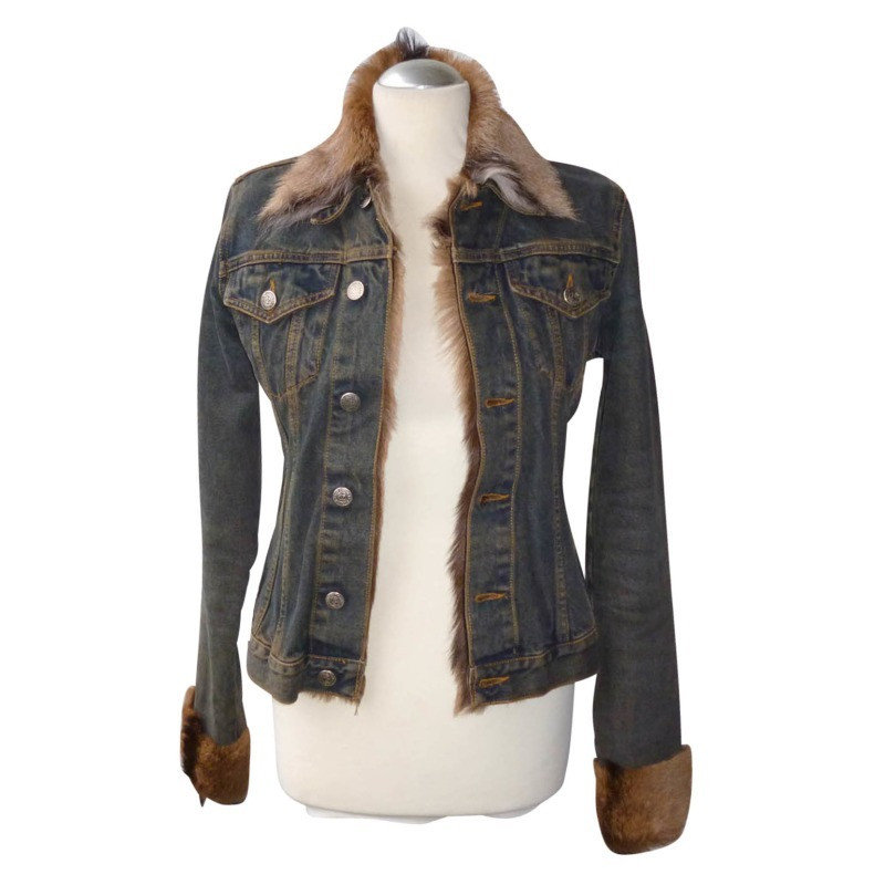 vent couvert jeansjacke mit fell second hand vent. Black Bedroom Furniture Sets. Home Design Ideas