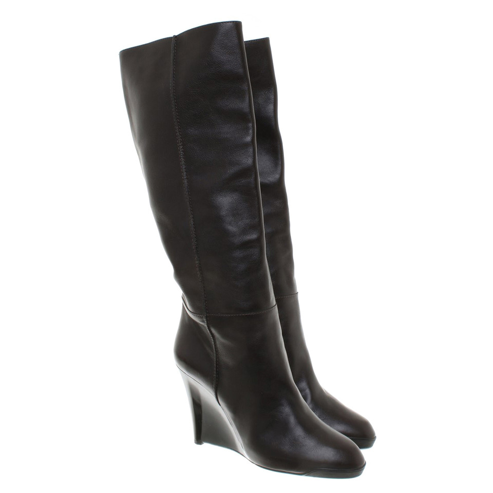 Tod's Dark brown boots with wedge heel