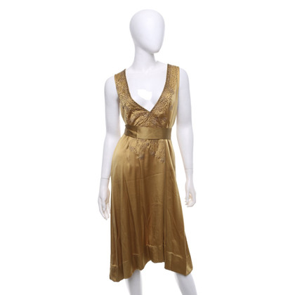 Dries van Noten Silk dress in gold-brown
