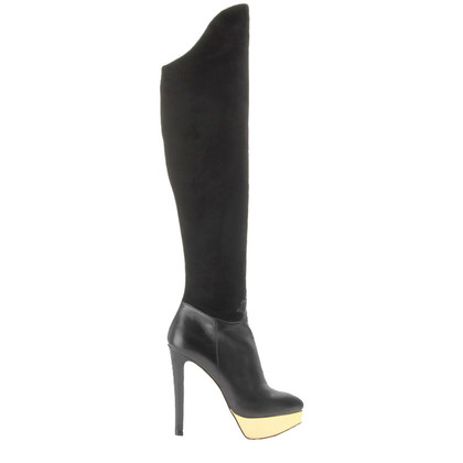 Charlotte Olympia Black thigh high boots
