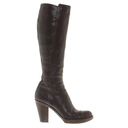 Costume National Bottes en cuir marron en