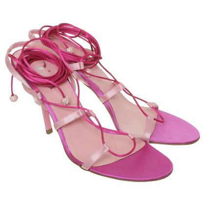Christian Dior Sandaletten mit Strass-Besatz