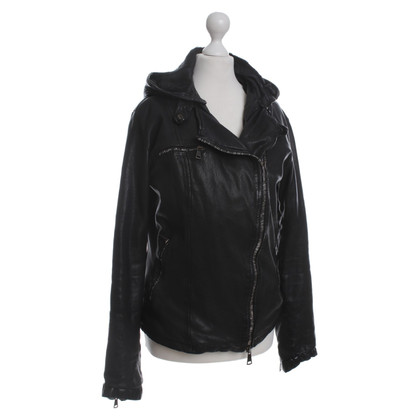 Giorgio Brato Leather jacket with rabbit fur trim