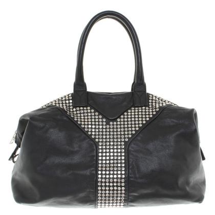 Yves Saint Laurent Borsa in pelle nera con borchie