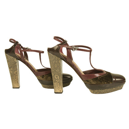 Louis Vuitton Mary Janes Heels velvet lizard leather