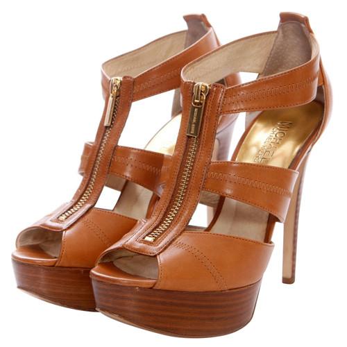 Michael Kors brown leather platform sandals - Second Hand Michael ...
