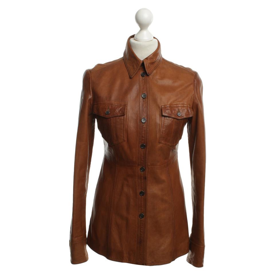 strenesse veste en cuir marron acheter strenesse veste. Black Bedroom Furniture Sets. Home Design Ideas