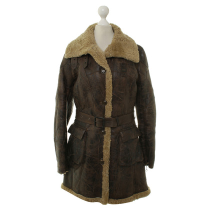 Blauer USA Cappotto di pelle di agnello in marrone scuro