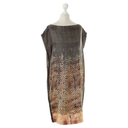 Alexander McQueen Patterned silk dress with eyelet detail