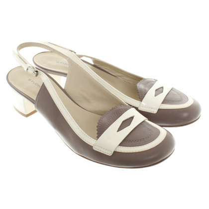 Pollini Sling Sandals in Taupe / White