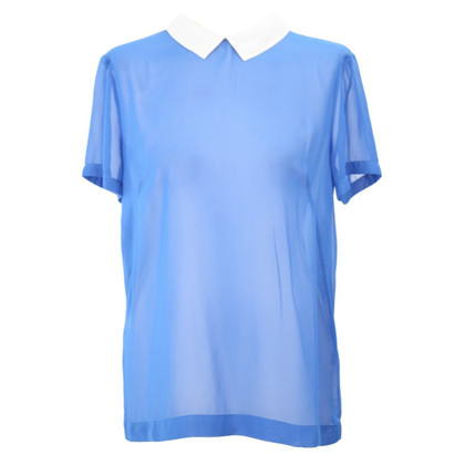 French Connection Transparente Bluse in Blau