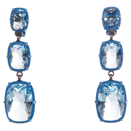 Other Designer Atelier Swarovski - blue squared drop earrings.