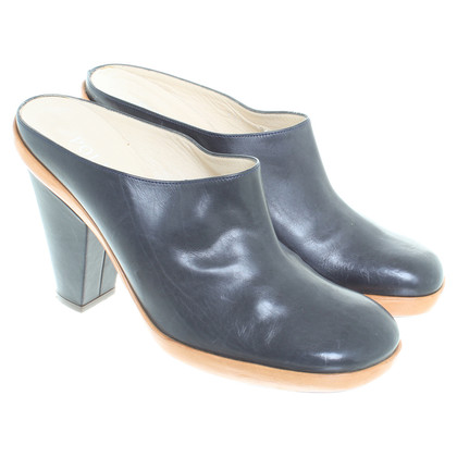 Pollini Leather clogs in blue