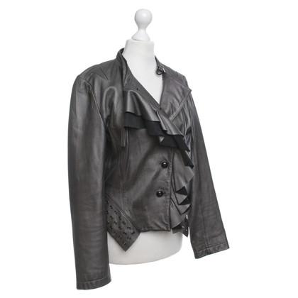 Karen Millen Metallic-kleurige leren jas