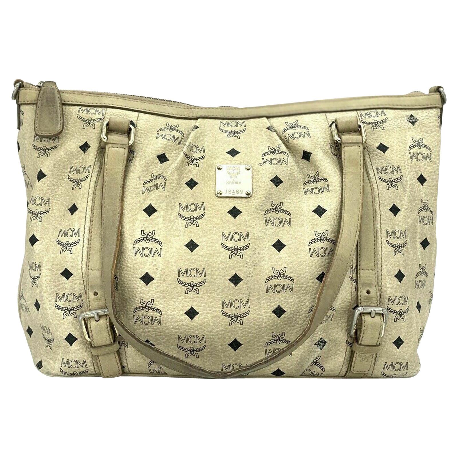 Mcm Handtasche in Creme Second Hand Mcm Handtasche in