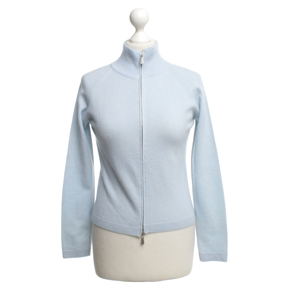 Malo Cashmere cardigan in light blue - Buy Second hand Malo ...