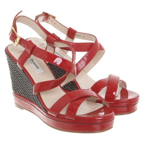 121ace2eb22 L.K. Bennett Wedges Patent leather in Red - Second Hand L.K. Bennett ...