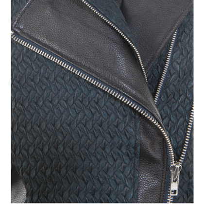 Helmut Lang Leather jacket with Jacquard inserts