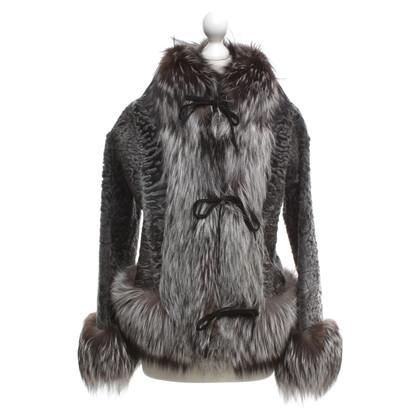 Blumarine giacca di pelliccia in grigio / marrone