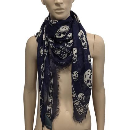 Alexander McQueen Blu skull scarf