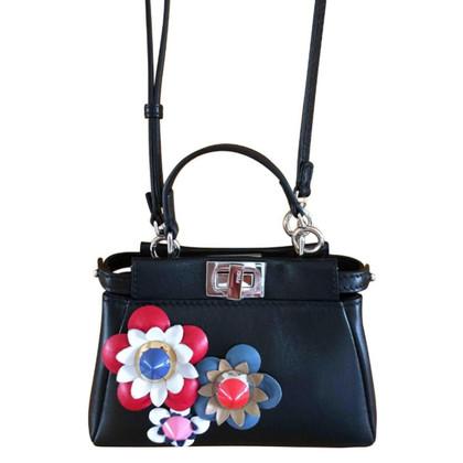 "Fendi ""Black Leather Floral Micro Peekaboo Bag"""