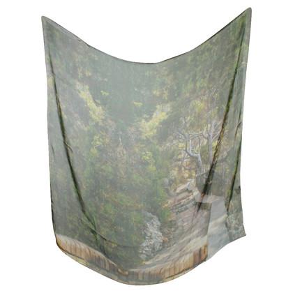 Akris Foulard en soie en vert