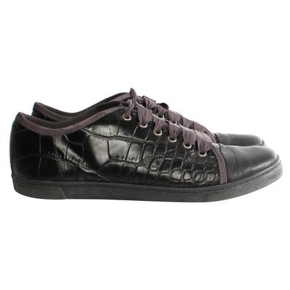 Lanvin zwarte reliëf lederen sneakers