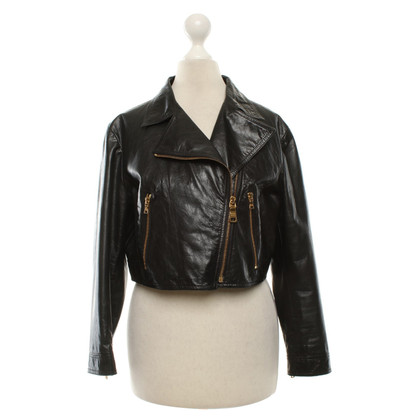 Prada Short leather jacket in black