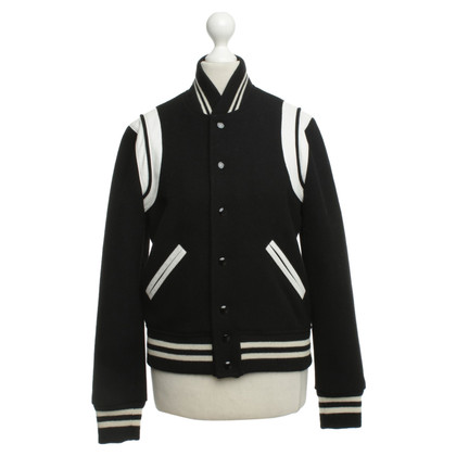 Saint Laurent Collegejacke in Schwarz/Weiß