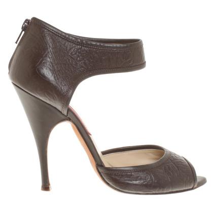 Brioni Peep-orteils en brun foncé