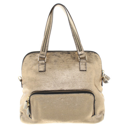 Anya Hindmarch Goldfarbene Ledertasche