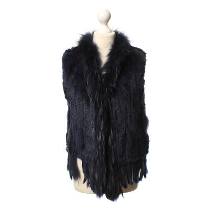 Oakwood Fur vest in dark blue